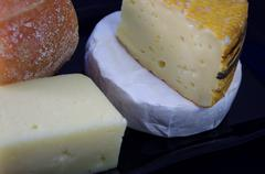 Variety of cheese isolated on black. - stock photo
