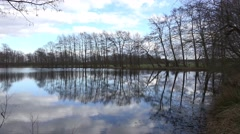 4k Trees and clouds mirroring on marshland lake surface Stock Footage