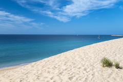 The endless Jandia Beach in Fuerteventura, Spain Stock Photos