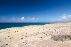 View of the desert and northern coastline of Jandia in Fuerteventura, Spain Stock Photos