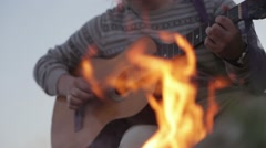 Fire and guitar 2 Stock Footage