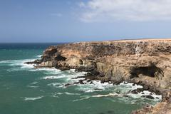 Large caves used by pirates in the past near Ajuy in Fuerteventura, Spain Stock Photos