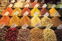 Spice Bazaar Egyptian Bazaar handmade traditional Turkish dishes spice Istanb - stock photo