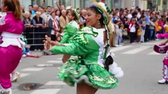 Carnival procession, group from Bolivia Stock Footage