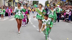 Bolivian dancing troupe on street carnival Stock Footage