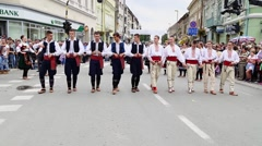Street carnival, traditional Serbian folklore - stock footage