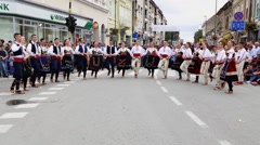 Serbian folklore in the street Stock Footage