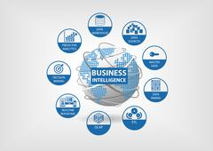 Business Intelligence concept with OLAP, data mart, ETL (extract transform load) - stock illustration