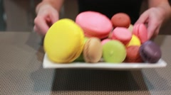 Plate full of macaroons Stock Footage