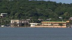 Cartagena Columbia Coastline Cargo Ship Stock Footage