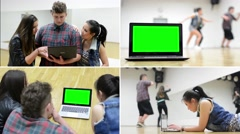 4K montage (compilation) - three dancers work on computer - green screen Stock Footage