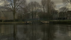 Amsterdam HD park_A picturesque Amsterdam canal  shot Stock Footage