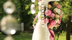 Decoration for wedding arch of roses and sparkling stones for the ceremony Stock Footage