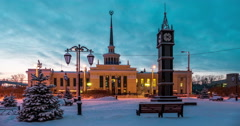 Railway Station in Petrozavodsk, Russia - stock footage