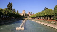 Alcazar palace gardens and fountains in Cordoba, Andalusia Spain Stock Footage