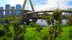 Aerial View of Ponte Estaiada (Octavio Frias bridge) Sao Paulo, Brazil Stock Footage