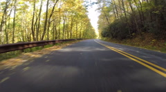 Leaves Blowing Behind Car on Blue Ridge Parkway - stock footage