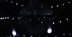 Mirrorball Disco Ball Black Silver Front Lights Stock Footage