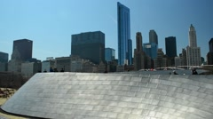 BP Bridge - Millennium Park - Chicago Pan from left - stock footage