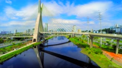 Aerial View of Ponte Estaiada (Octavio Frias bridge) Sao Paulo, Brazil Stock Footage