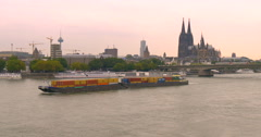 Cologne is Germany's fourth-largest city, river Rhine - stock footage