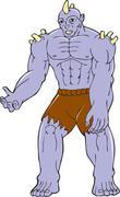 Goblin Monster Horn Cartoon Stock Illustration