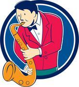 Musician Playing Saxophone Circle Cartoon. Stock Illustration