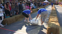 Barrel races at Oktoberfest Stock Footage