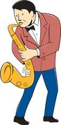 Stock Illustration of Musician Playing Saxophone Cartoon.