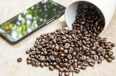 Coffee bean with Cup. - stock photo