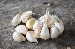 Close up of purple garlic. Stock Photos