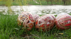 Beautiful Painted Easter Eggs in dolly shot Stock Footage