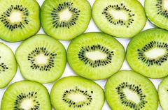 Stock Photo of Many slices of kiwi fruit