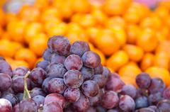 Fresh dark red grapes. - stock photo