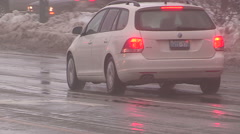 Fog  freezing rain and slippery icy roads Stock Footage