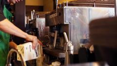 Coffeehouse Employee Barista Prepares Coffee Drink with Soy Milk Stock Footage