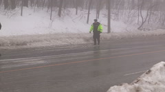 Car accidents and crash scene in freezing rain and ice storm - stock footage