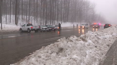 Car accidents and crash scene in freezing rain and ice storm Stock Footage