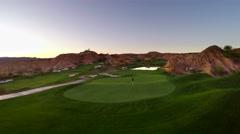 Aerial fly over of golf course in red rock canyons Stock Footage