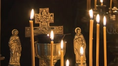 Orthodox church, praying people icon Stock Footage