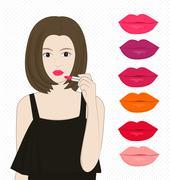 Women applying lipstick Stock Illustration