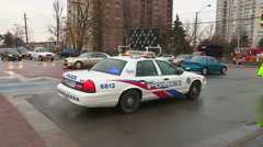 Car demolished in major accident scene on city street in Toronto Stock Footage