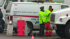 Police car truck road safety inspection blitz Stock Footage