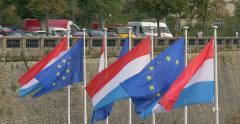 The Grand Duchy of Luxembourg city EU flags luxembourger flag and European Union Stock Footage