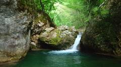 Spring waterfall flow Stock Footage