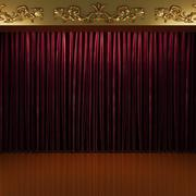 red curtain stage - stock illustration