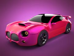 Stock Illustration of red luxury brandless sport car on pink background