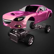 Car chassis with engine of luxury brandless sportcar Stock Illustration
