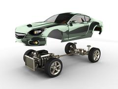 Car chassis with engine of luxury brandless sportcar Piirros