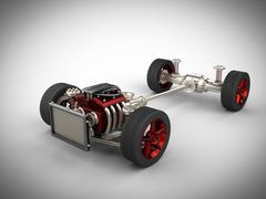 Car chassis with engine and wheels Stock Illustration